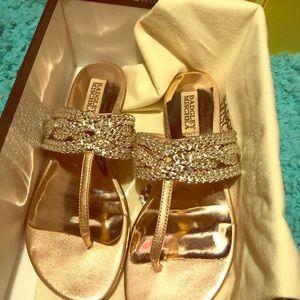 Badgley Mischka Rose Gold sandals sz 6.5